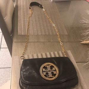 Tory Burch Reva large clutch with gold chain